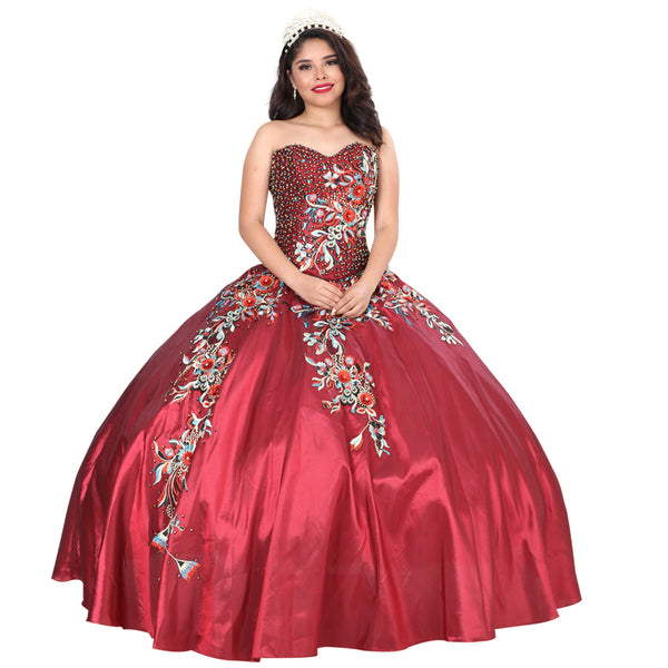 Burgundy Floral Quinceañera Dress