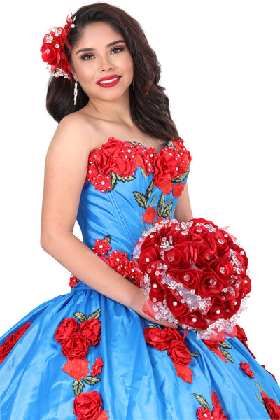 Red Roses Blue Quinceañera Dress