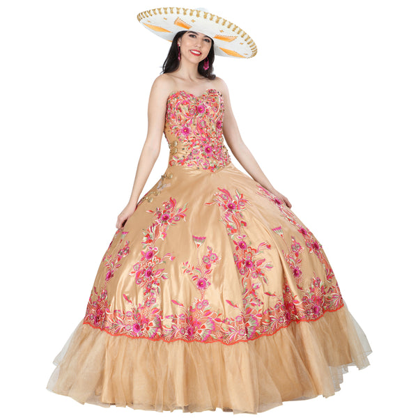 Gold Charro Multicolored Quinceañera Dress