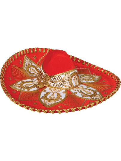 Traditional Charro Hat Red Orange & Gold