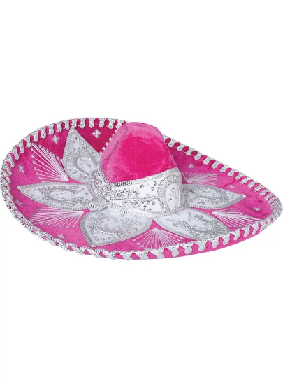 Traditional Charro Hat Hot Pink & Silver
