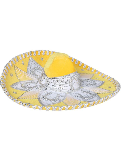 Traditional Charro Hat Yellow & Silver