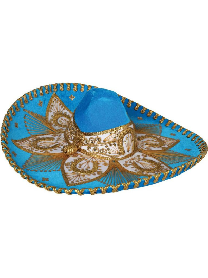 Traditional Charro Hat Aqua & Gold