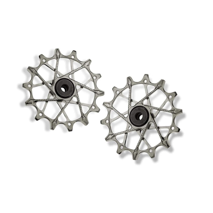GARBARUK Rear Derailleur Pulleys for Shimano | Set - 14T + 14T (for 12 sp. with standard cage), Silver