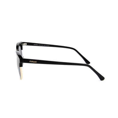 Cannes Jet Black - Side View - Grey lens - Mawu Sunglasses