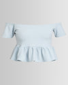 Peg Flounce Crop Top Scuba Cream