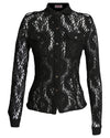 Long Sleeve Lace Shirt Black