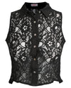 Lace Button Up Shirt Black