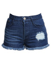 High Waisted Denim Shorts Blue