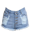 High Waisted Ripped Denim Shorts Light Blue