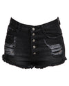 High Waisted Ripped Denim Shorts Black