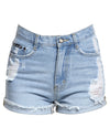 High Waisted Fold Up Denim Shorts Blue