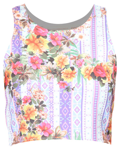 Floral Print Back Top White