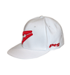 Baseball Flat Cap - White and Red