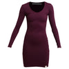 Ladies Ribbed Dress Burgundy
