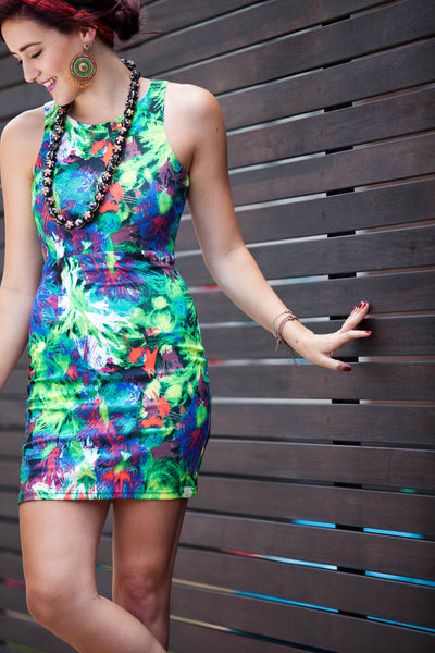 Tropical Mini Dress Multi Dark