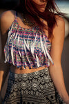 Tassel Crop Top Geometric Purple
