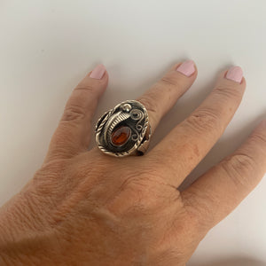 Navajo-style Ring with Amber Stone