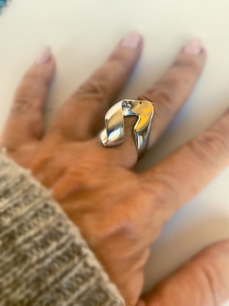 Modern Abstract Silver Ring