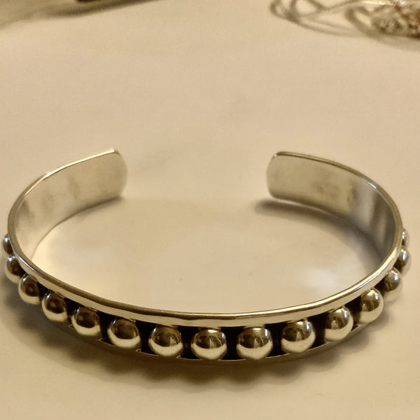 Beaded Sterling Silver Cuff