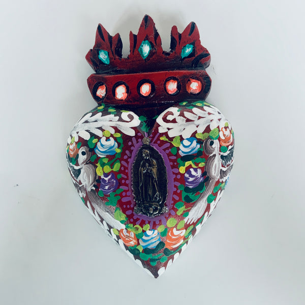 Hand painted Heart with Virgen de Guadalupe