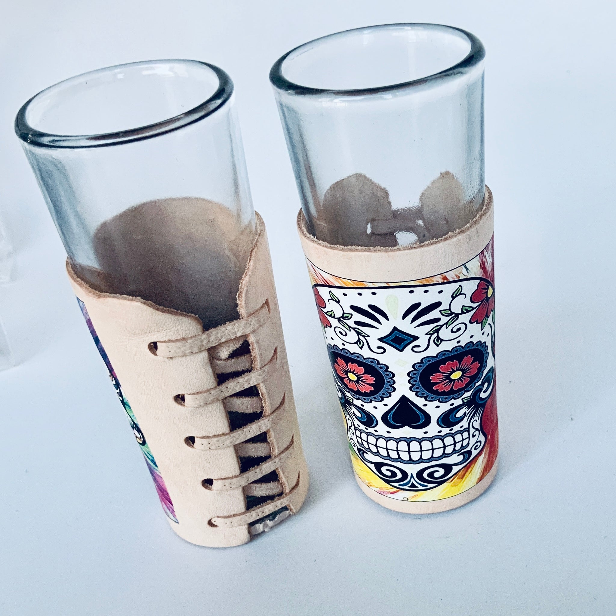 Set of Shot Glasses with Leather Koozie