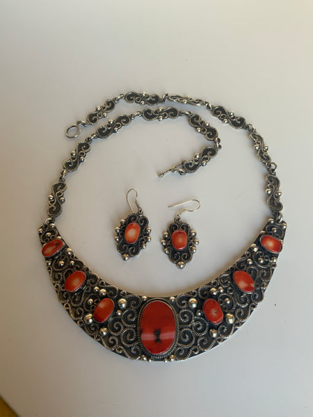 Silver and Red Jasper Necklace and Earring Set