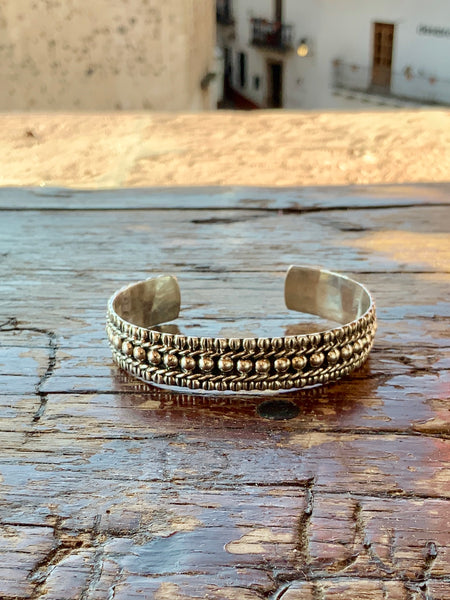 Ornate Beaded Silver Cuff