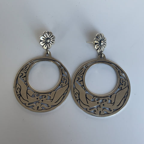 Sterling Hoops with Flower Post