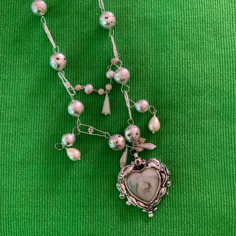 Glass Hearts and Silver Bells Necklace