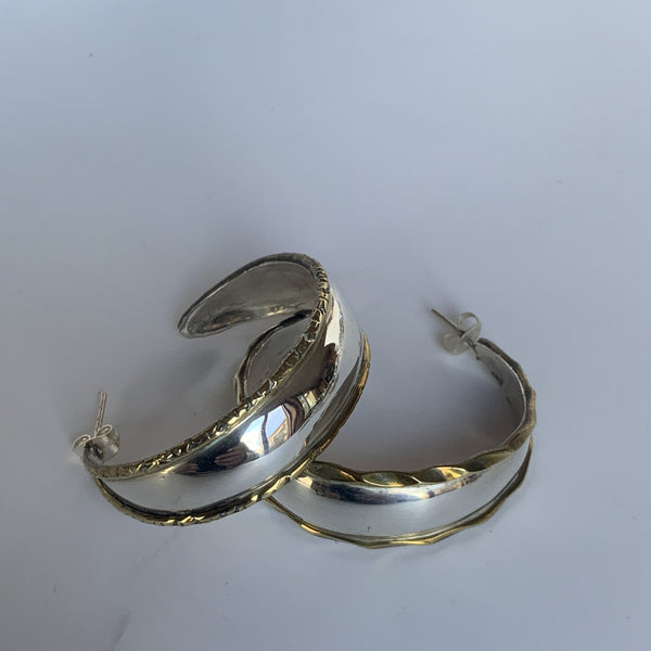 Classic Silver Earrings with Brass Trim