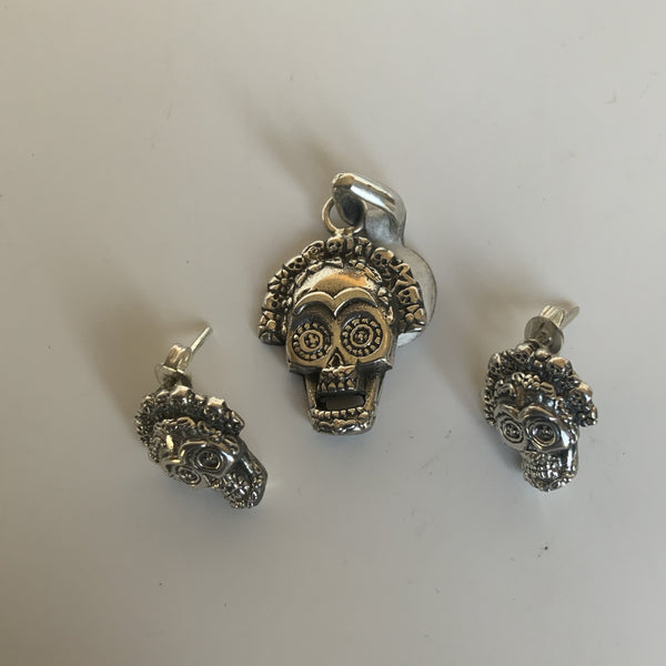 Small Detailed Catrina Pendant and Earrings