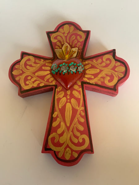 Hand painted Crosses with Heart