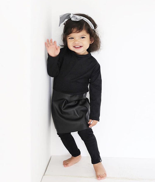 faux leather baby dress