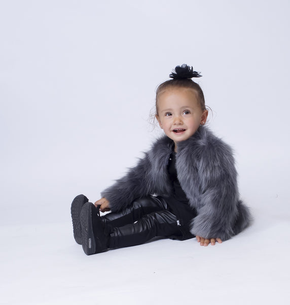 Grey Faux Fur Infant Coat - ayuki
