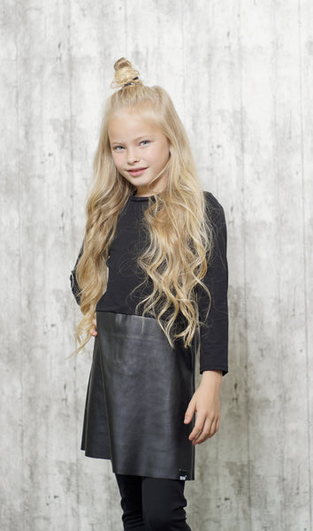 Baby Black with Leather Skirt Dress