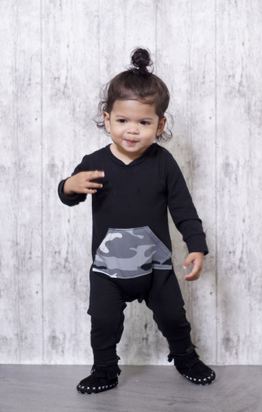 Black Onesie with camouflage gray
