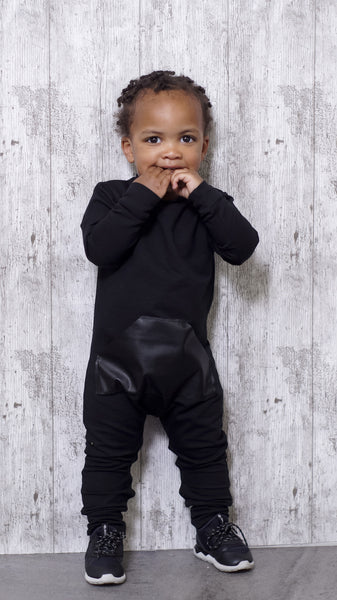 Black Leather infant Onesie - ayuki