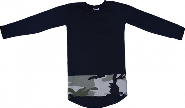 Black with green camo longshirt