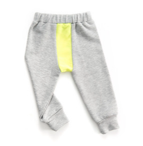 Grey/Yellow Baggy Line Pants - ayuki