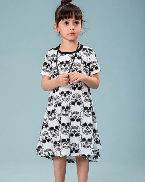 Asymmetric White with Black Skulls Toddler Dress - ayuki