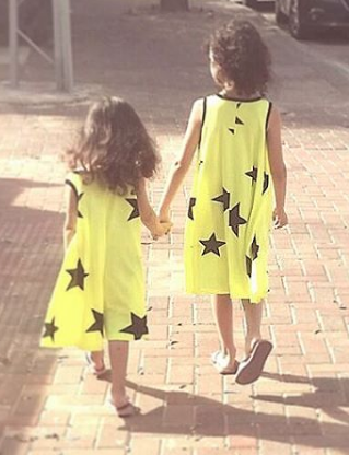 Vibrant Yellow Tank Dress with Black Stars - ayuki