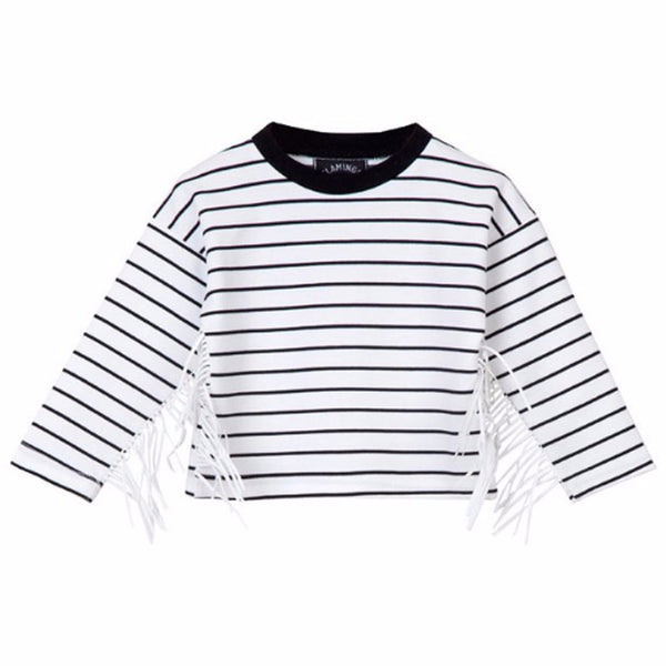 White/Black Stripe fringed Shirt - ayuki