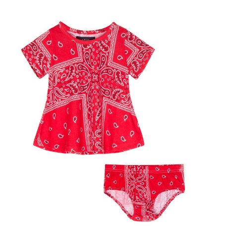 Red Clifford Bandana Infant Dress Set - ayuki