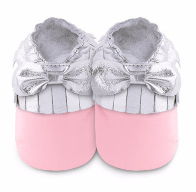Pink & Silver Leather Mini Mocs - ayuki