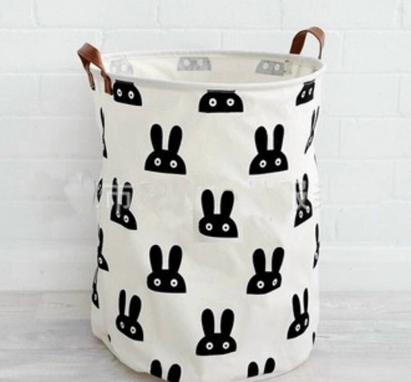 Bunny Storage Bag with Brown Leather Handels