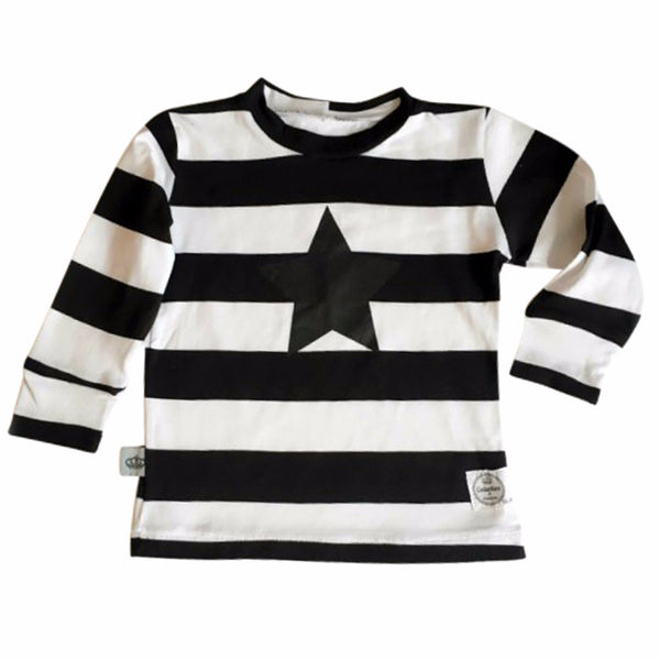 Black & White Stripes Long Sleeve T-Shirt - ayuki