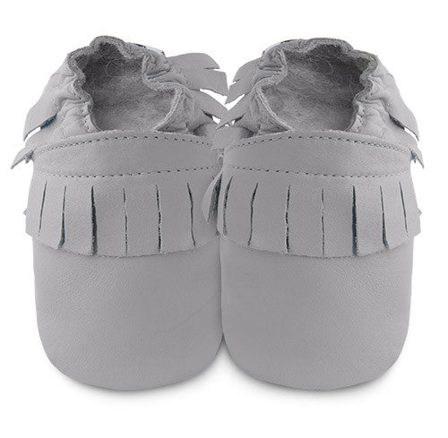 Grey Leather Mini Mocs - ayuki