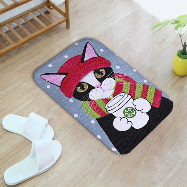 Cartoon Cats Non Slip Floor or Bathroom Mat
