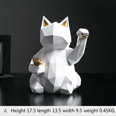 Geometric Nordic Style Cat Sculpture Décor